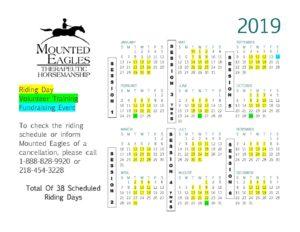 2019 Riding Session Calendar
